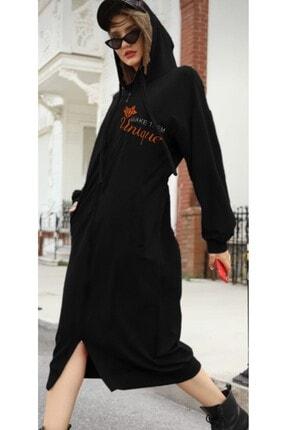 DMR Kadın Siyah Uzun Sweatshırt