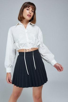Appleline Kadın Beyaz Belden Bağcık Detaylı Gömlek