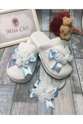 Miss Cici Beyaz Çiçekli Lohusa Tacı Ve Lohusa Terliği Mavi