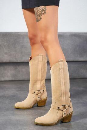 Louis Cardy Kadın Bej Geras Hakiki Deri Çizme