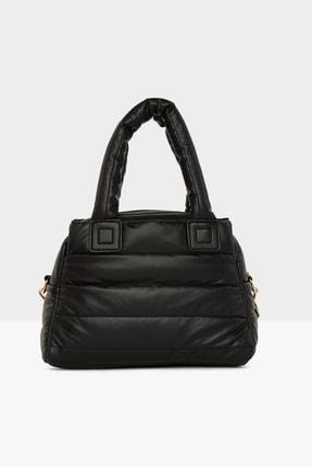 Bagmori Kadın Siyah Üç Bölmeli Şişme Çanta M000005141