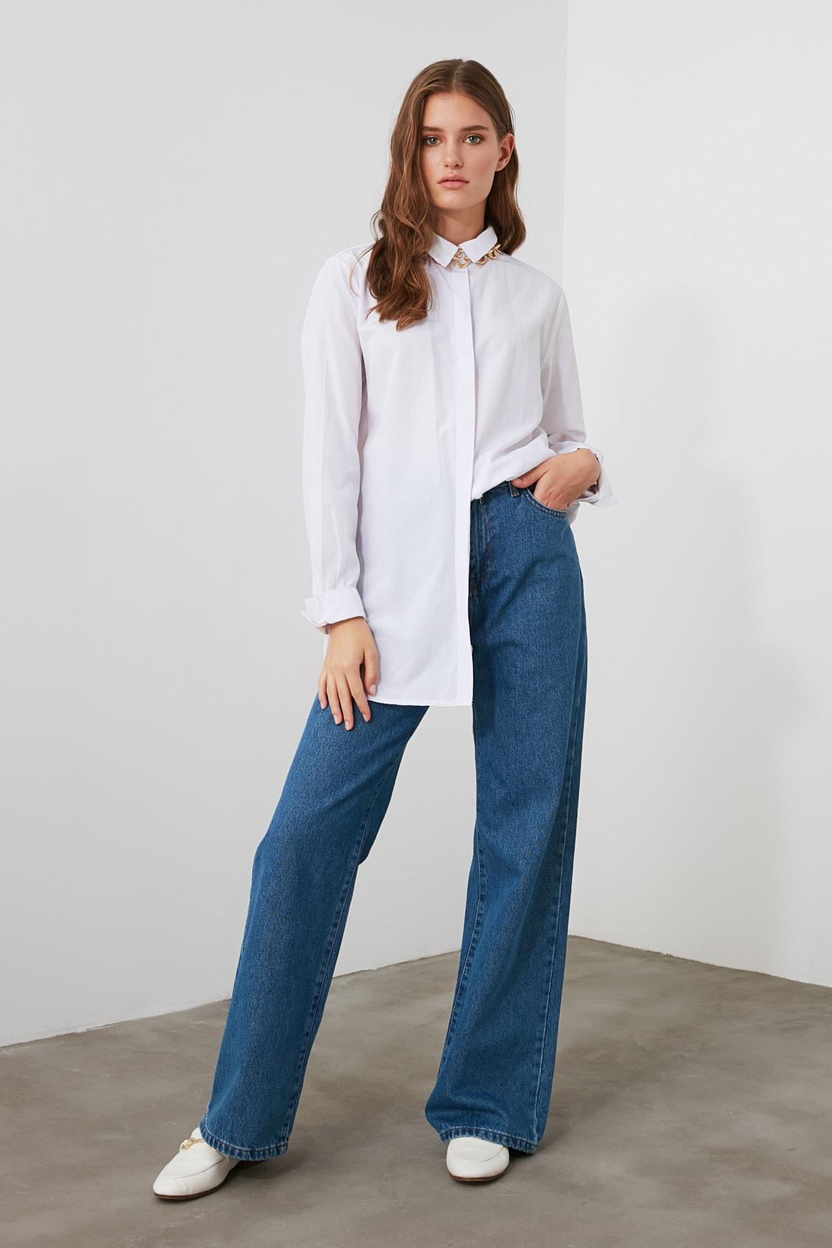 TRENDYOLMİLLA Mavi Yüksek Bel Wide Leg Jeans TWOAW21JE0099 1