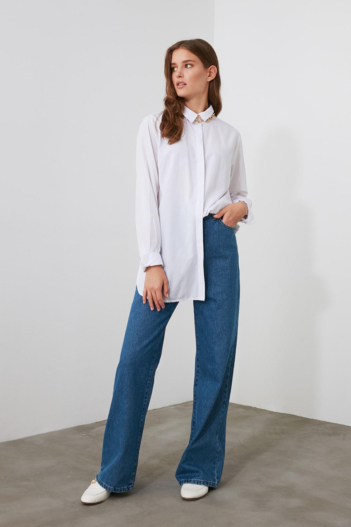 TRENDYOLMİLLA Mavi Yüksek Bel Wide Leg Jeans TWOAW21JE0099 2