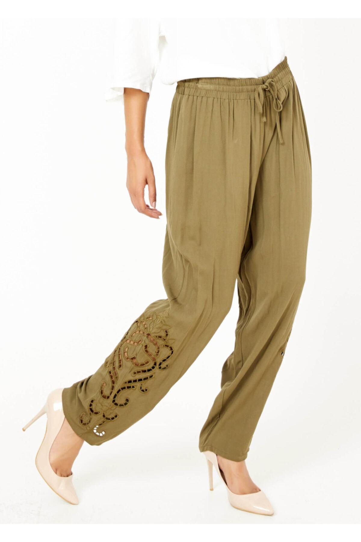 Adze Kadın Haki Paça Detaylı Bel Lastikli Pantolon 1