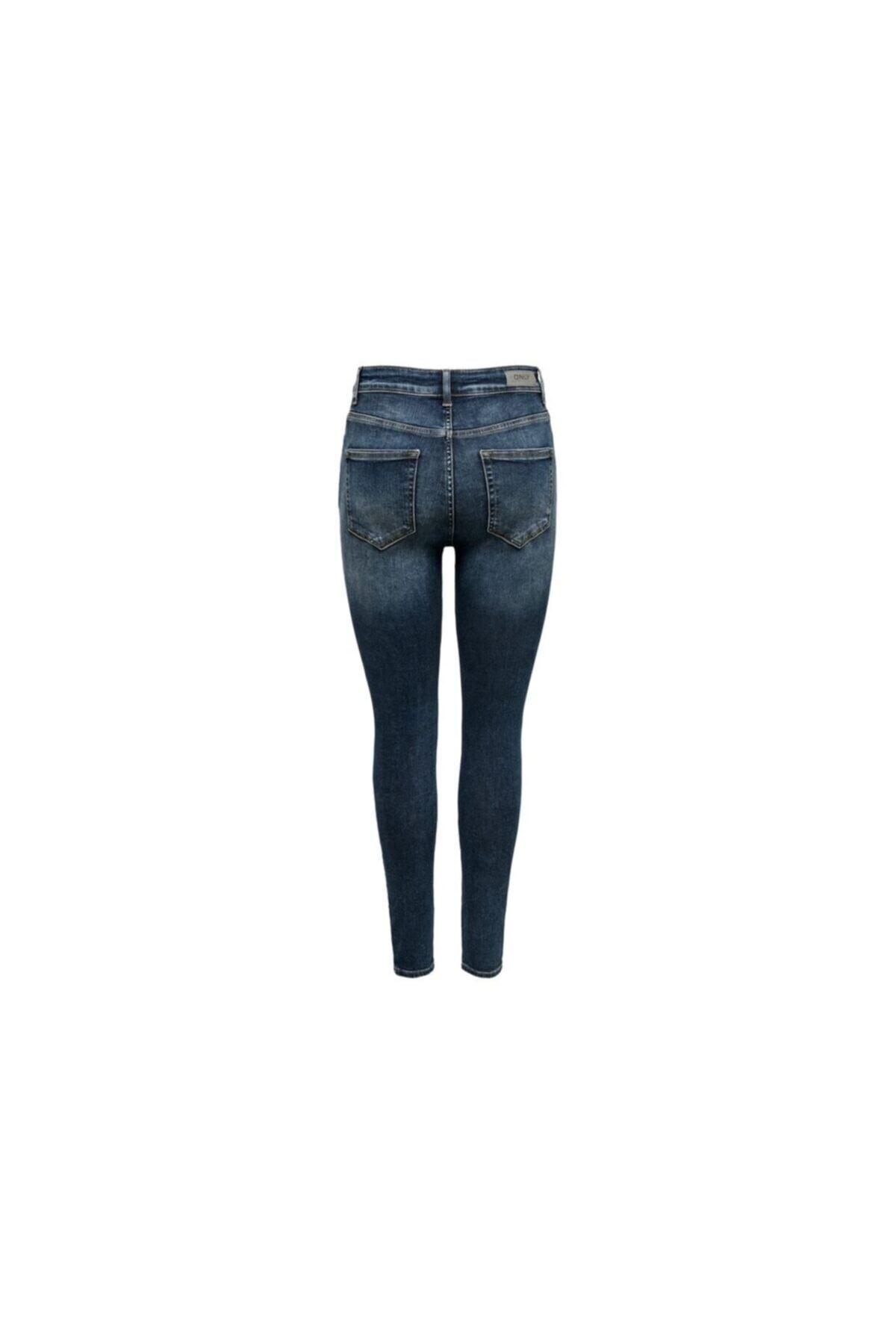 Only Kadın Mavi Onlblush Hw Button Sk Ank Jeans Rea3278 Pantolon 2