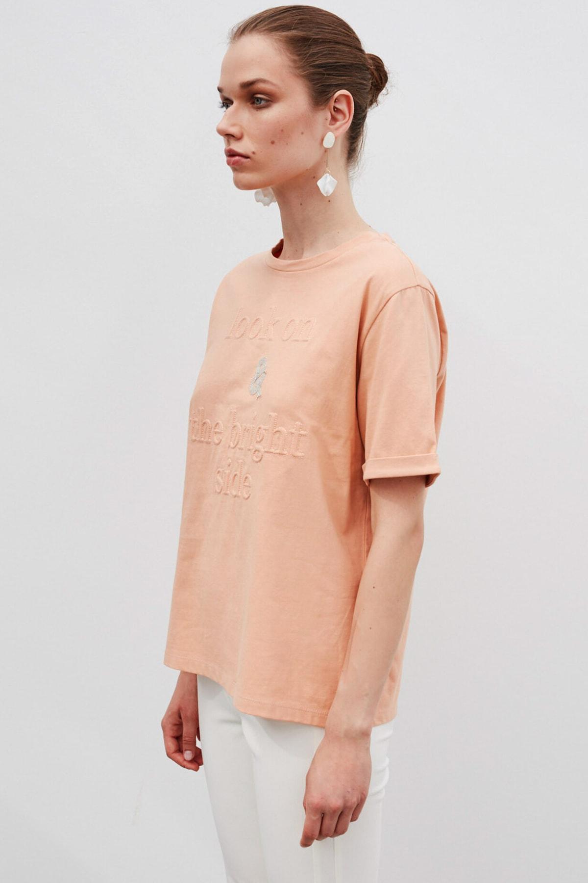 İpekyol Kadın Turuncu Slogan Baskılı Tişört  IW6200070099 1