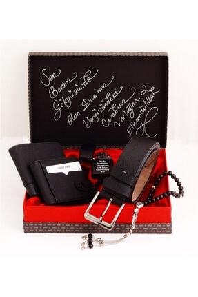 HediyeSepete Siyah Kot Renk Cüzdan Çakmak Kartlık Kemer Tesbih Bileklik Hediye Seti