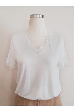 Vekem Kadın Beyaz Basic Bluz