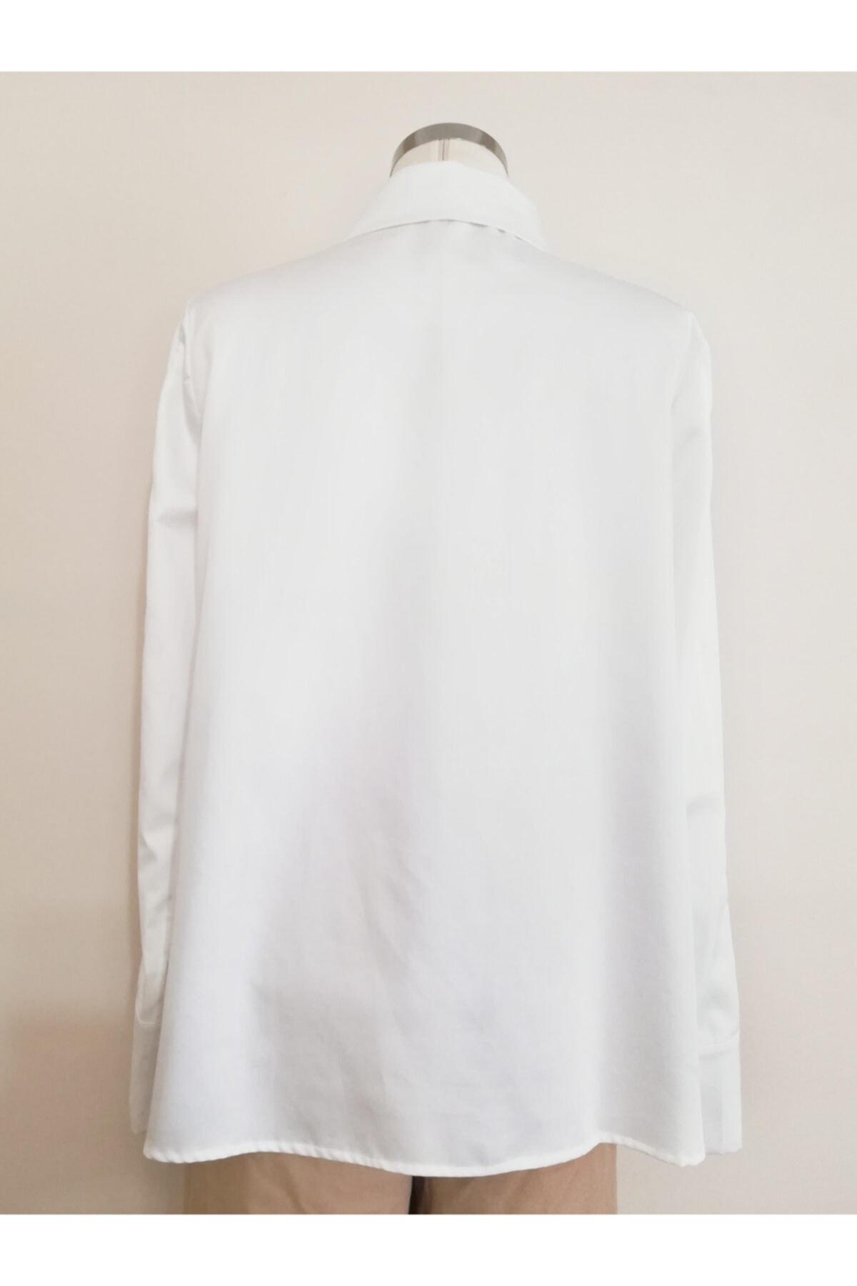 Vekem Kadın Beyaz Fermuar Detaylı Rahat Kesim Gömlek 2