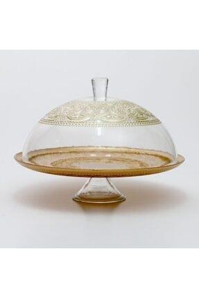 SIGMA GLASS 32 Cm Alinea Ayaklı Kek Fanusu Altın