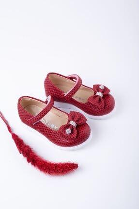 epaavm Kız Bebek Kırmızı Poli Taban Noktalı Ayakkabı