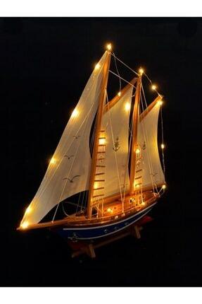 YİĞİTOĞLU DESIGN Özel Tasarım Yelkenli El Yapımı Büyük Boy Premium Doğal Ahşap Gemi Maketi M2