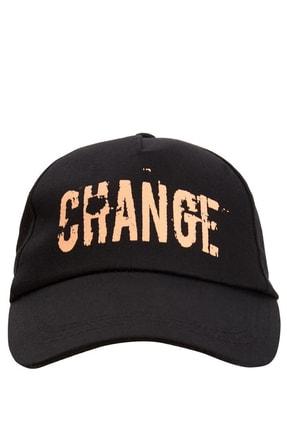 DeFacto Kadın Siyah Baskılı Renk Bloklu Şapka L1385AZ.19SP.BK21