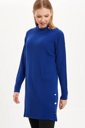 DeFacto Kadın Modest Mavi Düşük Kollu Düğme Detaylı Triko Tunik J3018AZ.19WN.BE181