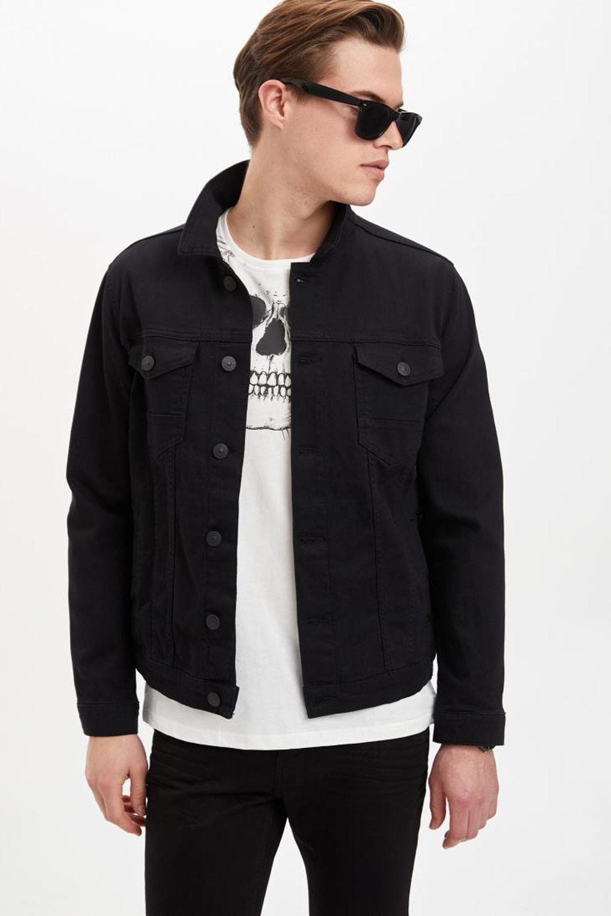 DeFacto Erkek Siyah Kot Basic Slim Fit Jean Ceket M4851AZ.20SP.NM40 1