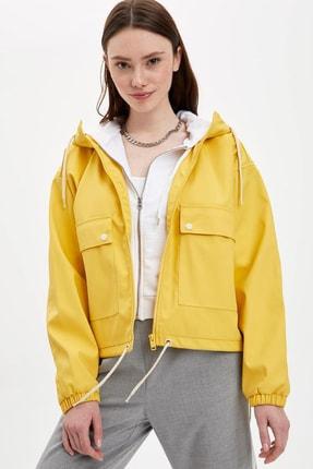 DeFacto Kadın Sarı Kapüşonlu Cep Detaylı Yağmurluk M0819AZ.20SP.YL102
