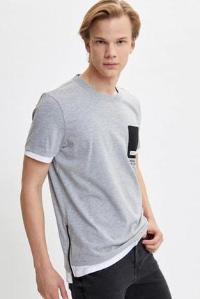 DeFacto Kadın Gri Baskılı Long Fit T-Shirt M4804AZ.20SP.GR360