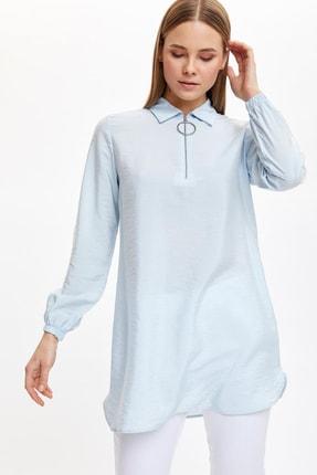 DeFacto Kadın Modest Mavi Gömlek Yaka Düğmeli Tunik L3887AZ.20SP.BE61