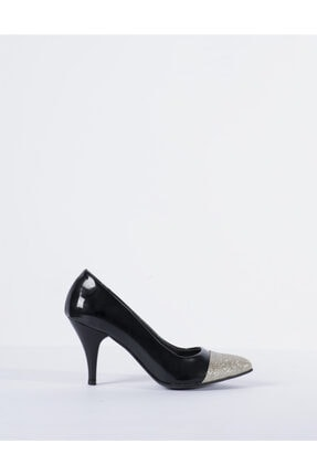 Vision Kadın TSiyah aş Detaylı Topuklu Ayakkabı