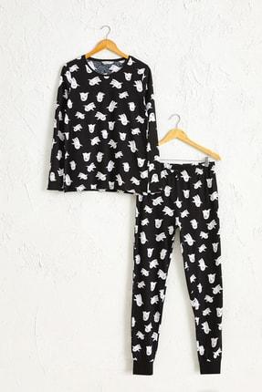 LC Waikiki Kadın Siyah Baskılı Pijama Takım 0W0798Z8