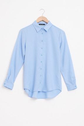 LC Waikiki Kadın Mavi Gömlek 0WFB34Z8