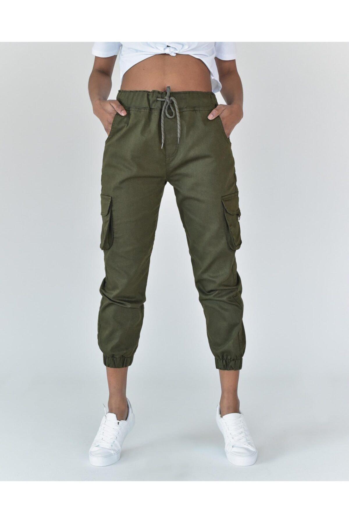 Vision Kadın Haki Cep Detaylı Pantolon 1