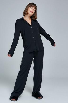 Appleline Kadın Siyah Ceket Yaka Pijama Takımı