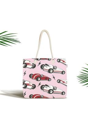 Realhomes Bebek Çantası - Yarış Arabalı Dijital Baskılı Modern Kumaş Çanta