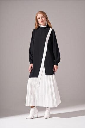 Mizalle Kadın Siyah Şerit Parçalı Krep Tunik