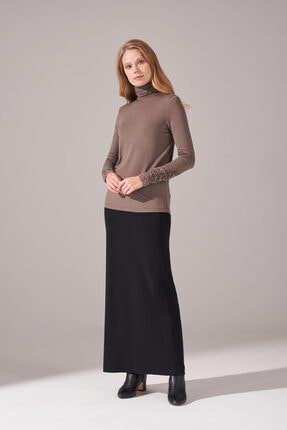 Mizalle Kadın Haki Yaka Kol Büzgülü Sandy Bluz