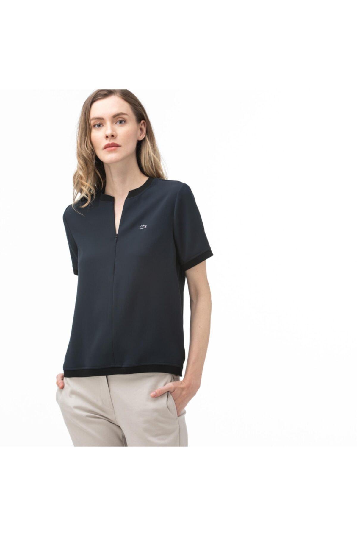 Lacoste Kadın Lacivert Fermuarlı Yaka Bluz 2