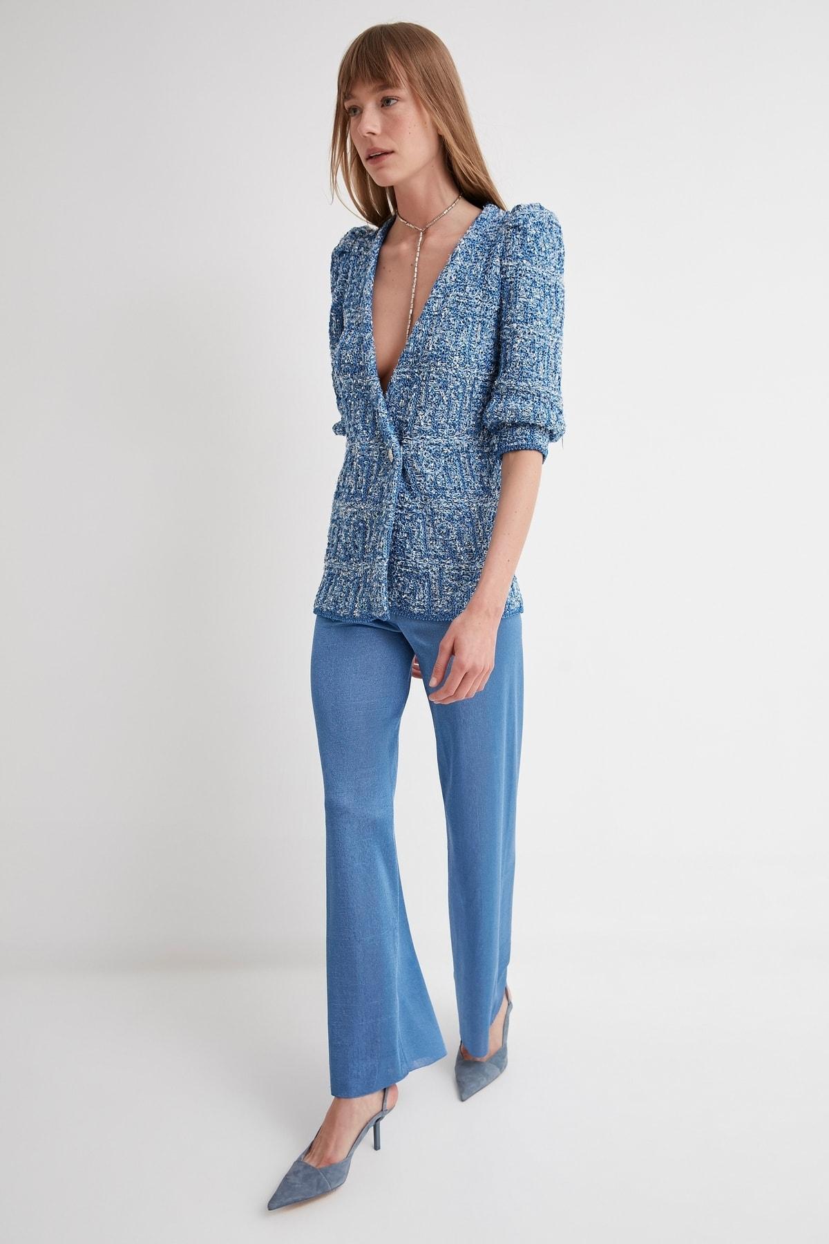 JOIN US Kadın Mavi Lastikli Triko Pantolon 2