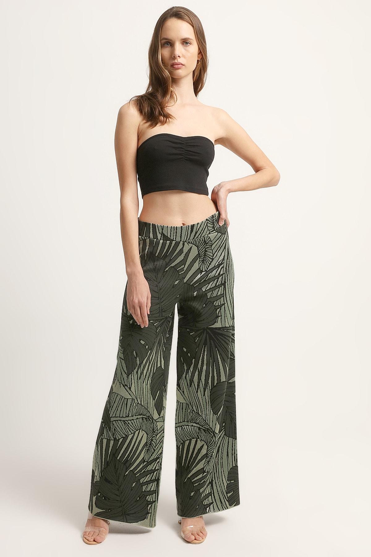 JOIN US Kadın Yaprak Desenli Pantolon 2020S125-YESIL 1