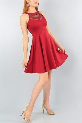 lovebox Esnek Scuba Kumaş Transparan Detaylı Bordo Abiye Elbise Bordo Mezuniyet Elbisesi