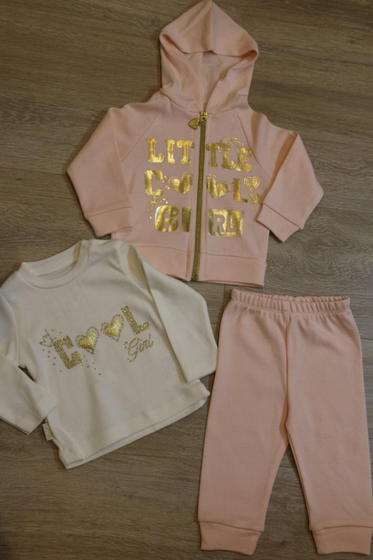 Atalay Çok Şık Gold Detaylı 3lü Kız Bebek Takımı 1