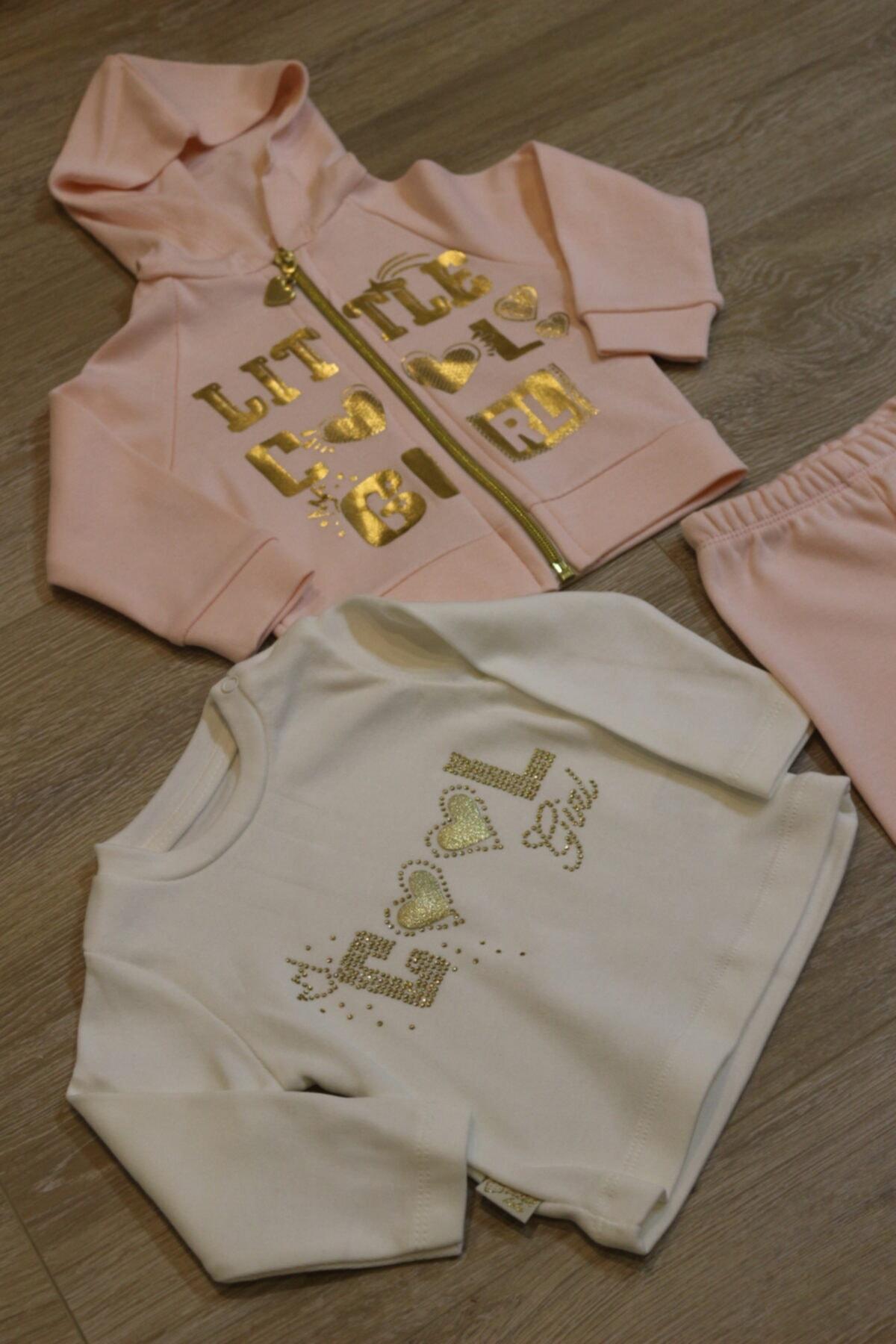 Atalay Çok Şık Gold Detaylı 3lü Kız Bebek Takımı 2