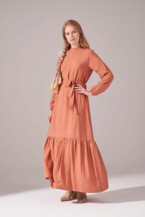 Mizalle Kadın Gül Kurusu  Kuşaklı Uzun Elbise