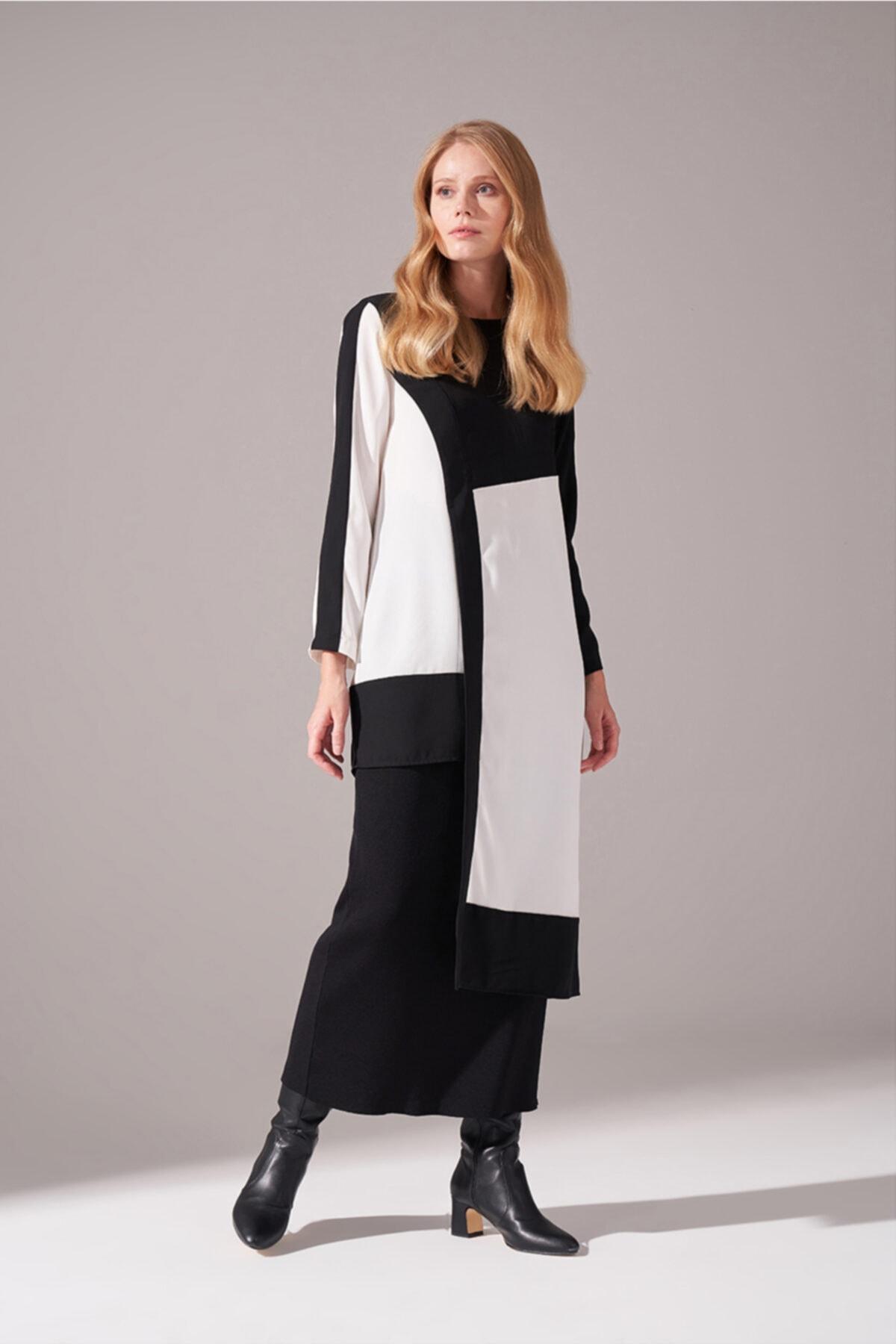 Mizalle Kadın Siyah Parça Detaylı Tunik Elbise 1