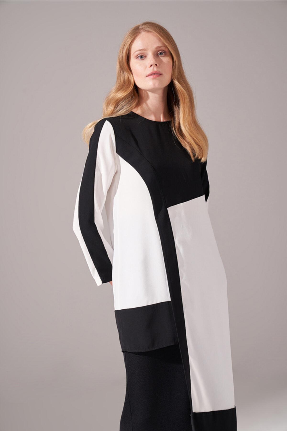 Mizalle Kadın Siyah Parça Detaylı Tunik Elbise 2