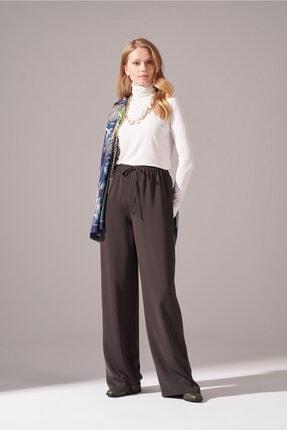 Mizalle Kadın Haki Beli İp Bağlamalı Pantolon
