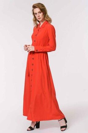 Mizalle Kadın Kırmızı Soft Clean Patlı Elbise