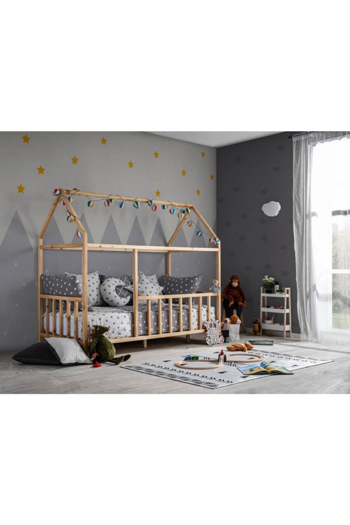Baby Kinder ® 90x190 Çatılı Doğal (organik - Çam) Montessori Bebek & Çocuk Karyolası 1