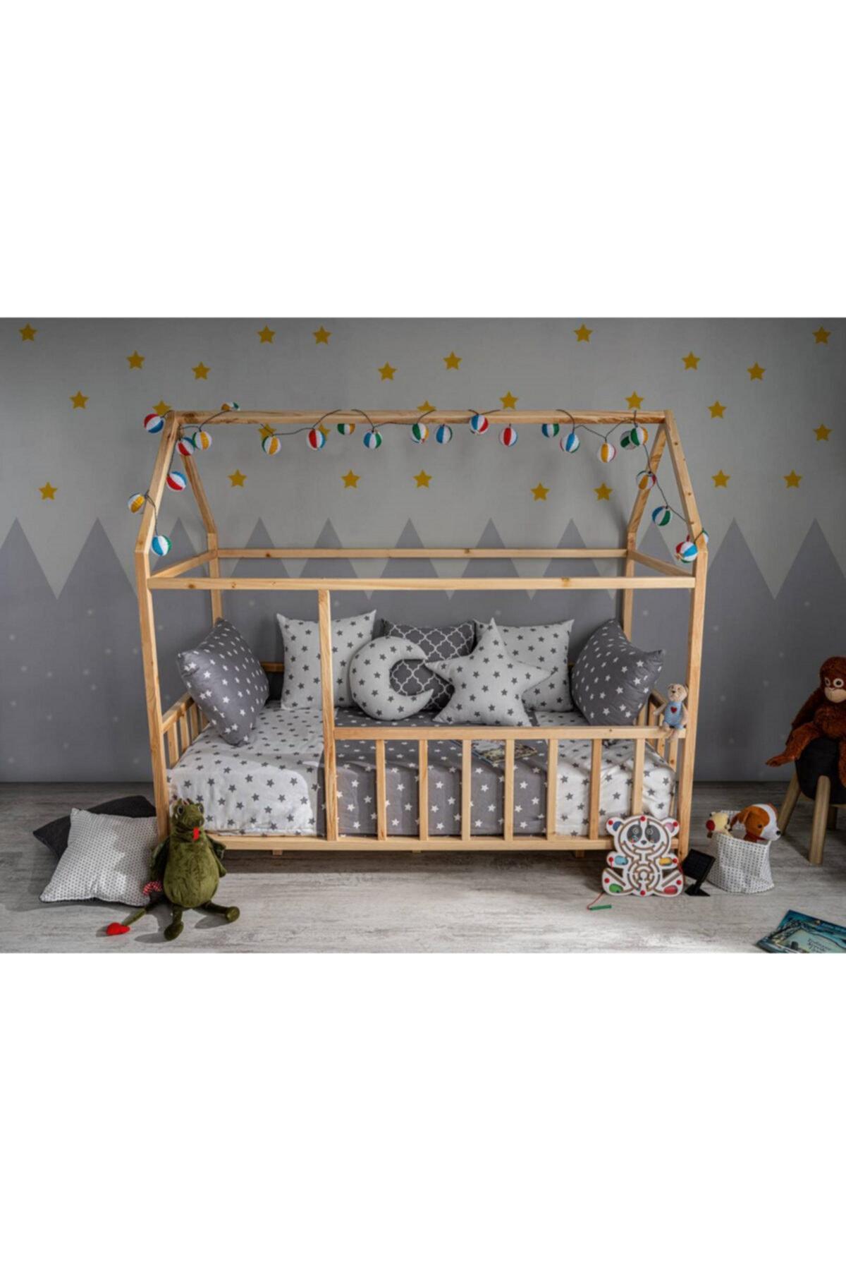 Baby Kinder ® 90x190 Çatılı Doğal (organik - Çam) Montessori Bebek & Çocuk Karyolası 2