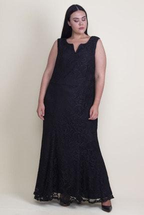 Şans Kadın Siyah Yaka Detaylı Astarlı Dantel Uzun Elbise 65N18220