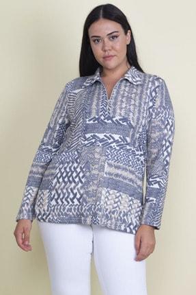 Şans Kadın Renkli Pamuklu Kumaş Ön Patı Fermuarlı Uzun Kollu Desenli Bluz 65N18322