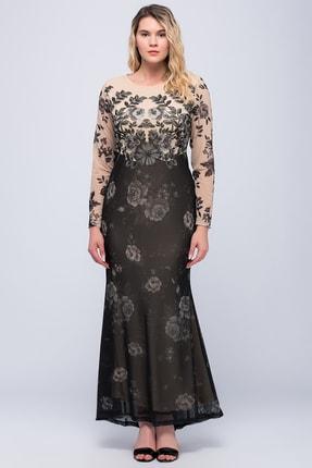 Şans Kadın Bej Şifon Abiye Elbise 65N18257