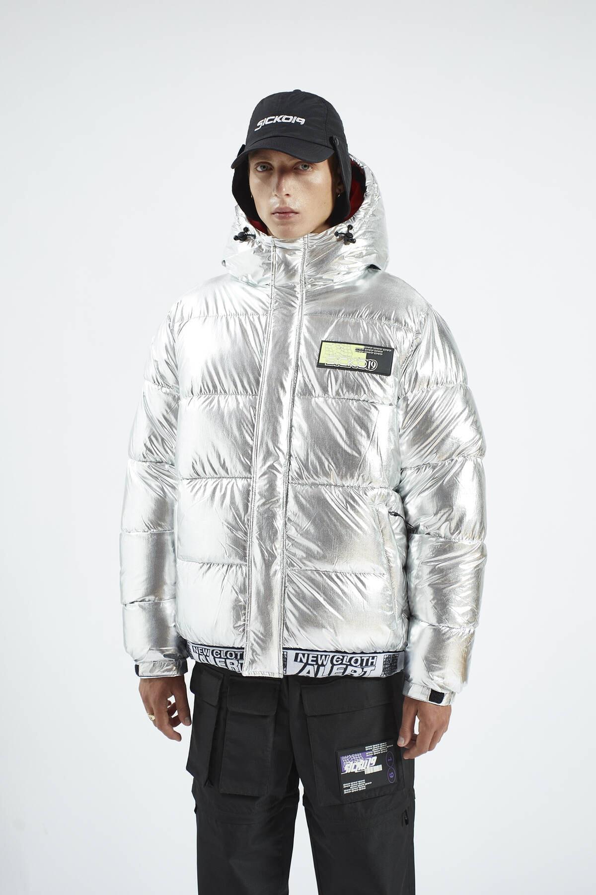 Pull & Bear Erkek Gümüş Renk Şişme Mont 09710573