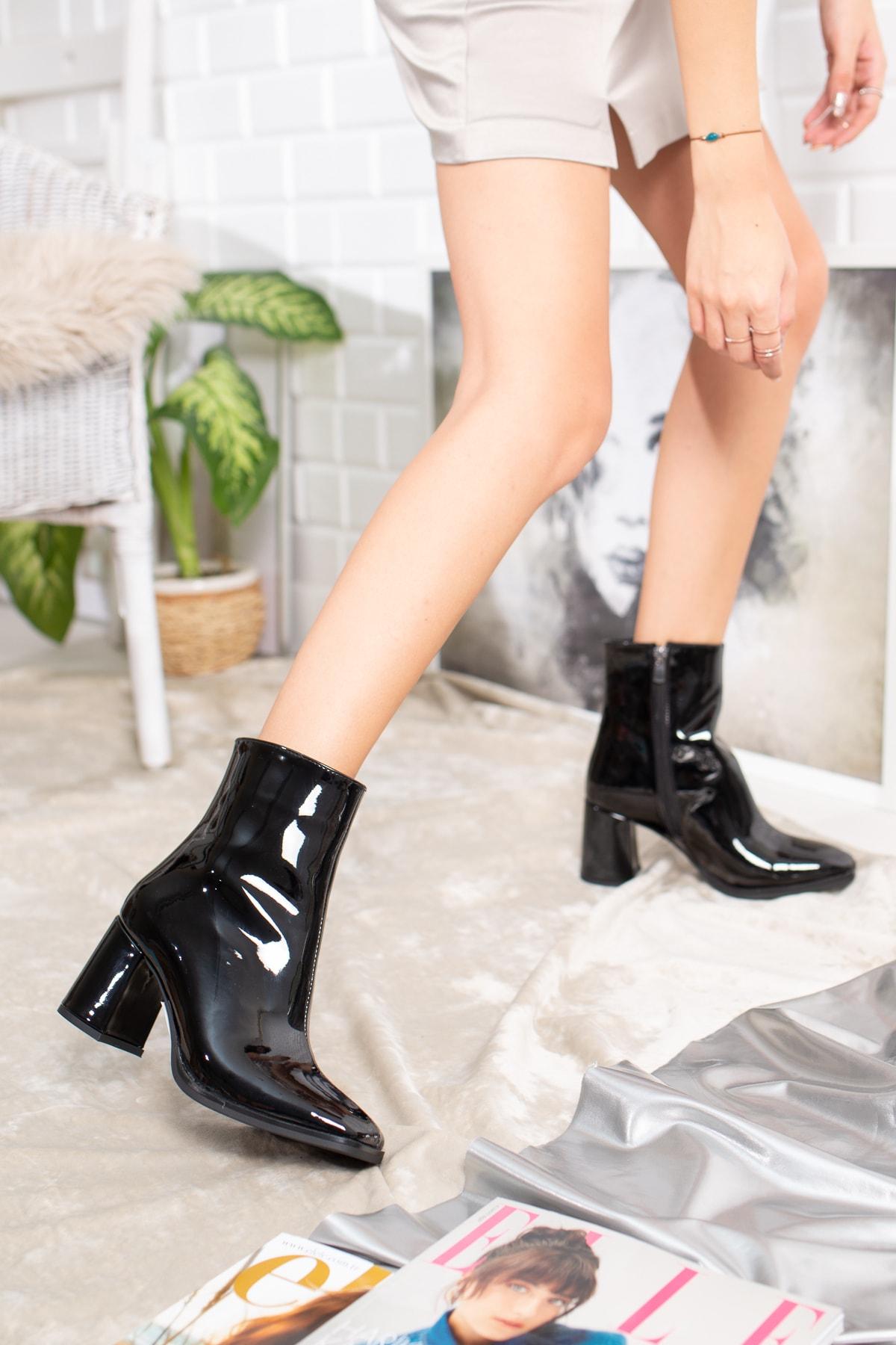 LUKKA Kadın Siyah Rugan Topuklu Bot 1