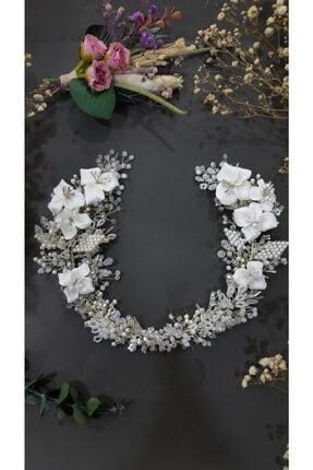 CONCEPTARYA Porselen Çiçekli Kanat Model Gelin Tacı