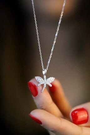 Midyat Gümüş Dünyası Kadın Gümüş 925 Ayar Zirkon Taşlı Yusufçuk Model Hayalet Kolye
